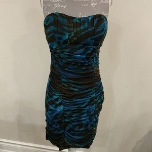 Charlotte Russe colourful blue strapless d…
